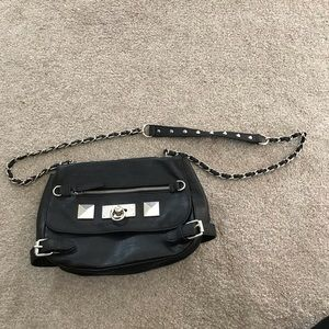 Handbags - Black Crossbody with buckles and chain strap